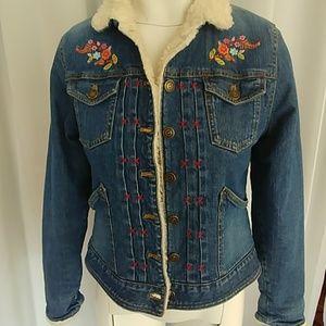 Gap embroidered jean denim jacket size 14-16